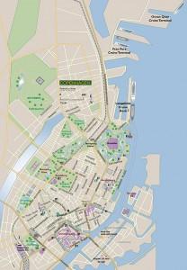 map of Copenhagen showing cruise terminals.